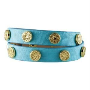 Turquoise Leather Bracelet Wrap with Gold Studs NEW